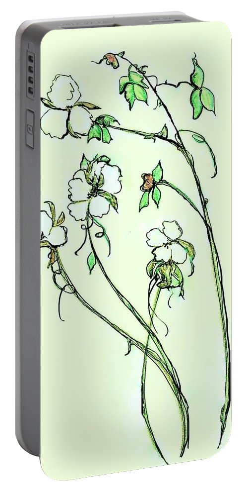 Cotton Portable Battery Charger featuring the painting Charming Cotton Bolls by Eloise Schneider Mote