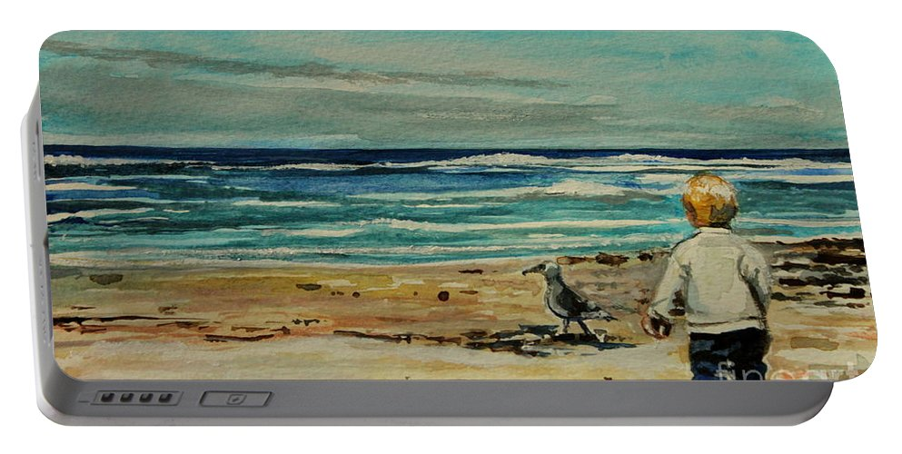 Ocean Portable Battery Charger featuring the painting Chasing The Seagull by Elizabeth Robinette Tyndall