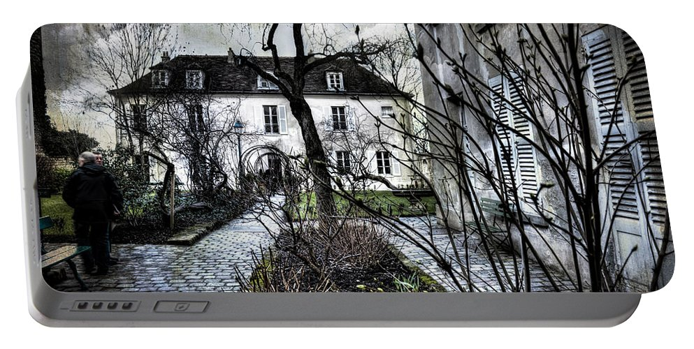 Evie Portable Battery Charger featuring the digital art Chat Noir Gallery Paris France by Evie Carrier