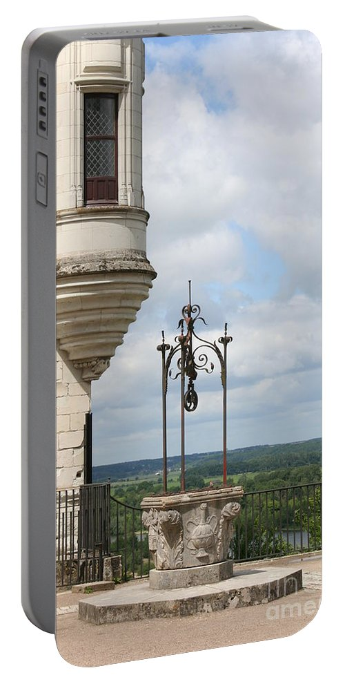 Baywindow Portable Battery Charger featuring the photograph Chateau Baywindow And Well by Christiane Schulze Art And Photography