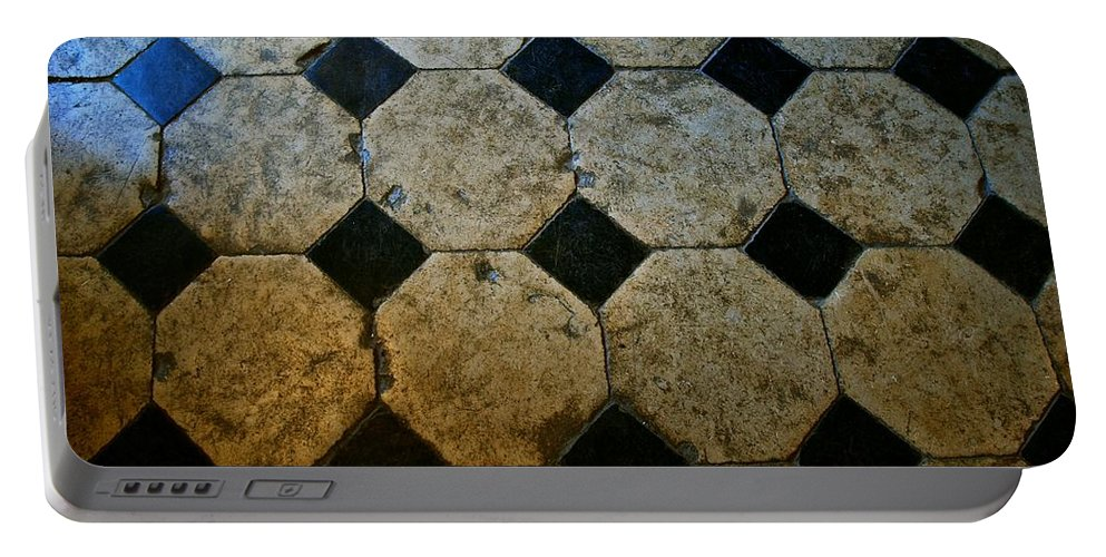 Chateau Portable Battery Charger featuring the photograph Chateau Brissac's Tile Floor by Eric Tressler