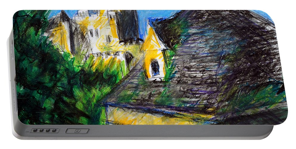 Landscape Portable Battery Charger featuring the pastel Chateau In Dordogne France by Paul Sutcliffe