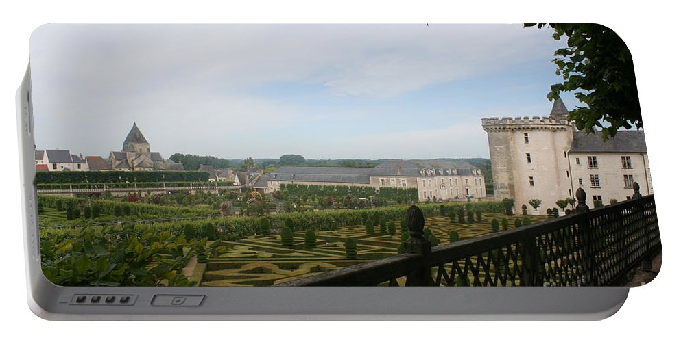Garden Portable Battery Charger featuring the photograph Chateau Vilandry And Garden View by Christiane Schulze Art And Photography