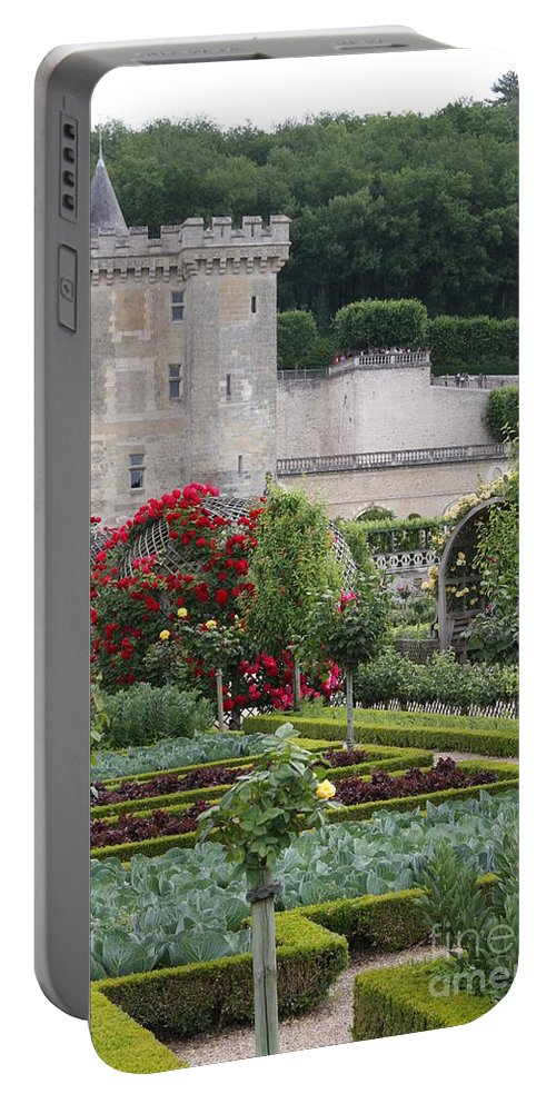 Palace Portable Battery Charger featuring the photograph Chateau Villandry And The Cabbage Garden by Christiane Schulze Art And Photography