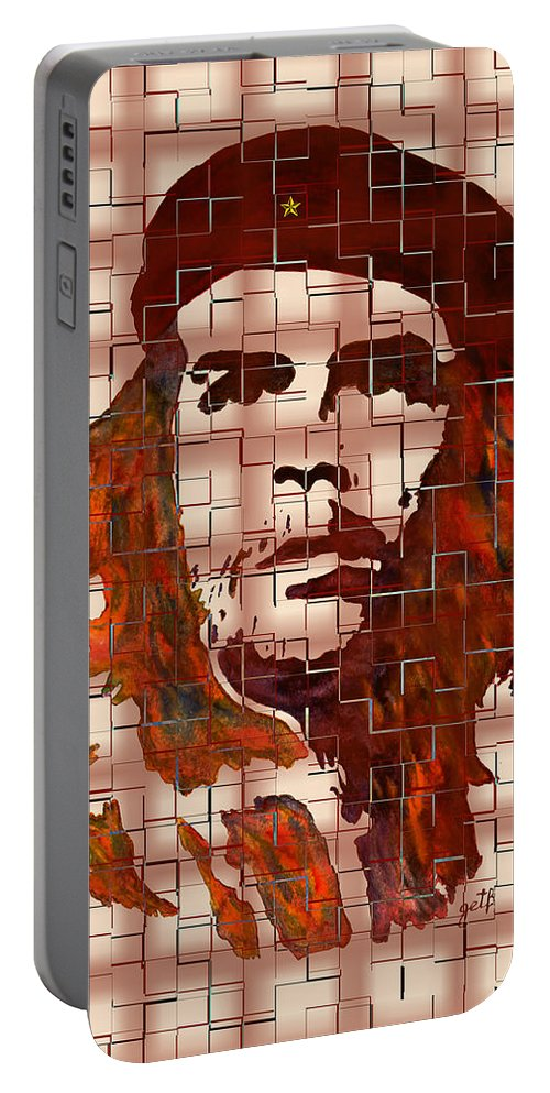 Che Guevara Portable Battery Charger featuring the painting Che Guevara Digital From Watercolor Painting by Georgeta Blanaru