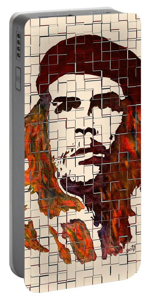 Che Guevara Portable Battery Charger featuring the painting Che Guevara Watercolor Painting by Georgeta Blanaru