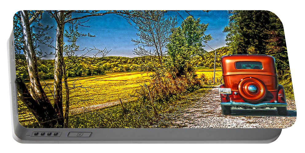 Get Away Route Portable Battery Charger featuring the photograph checking route getawayJefferson co.. IN by Randall Branham