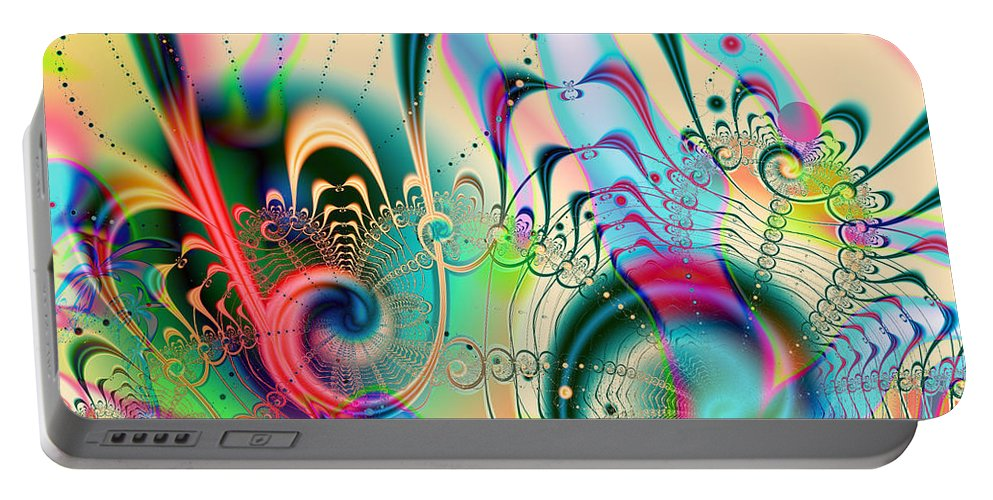 Happy Portable Battery Charger featuring the digital art Cheer Brigade by Kiki Art