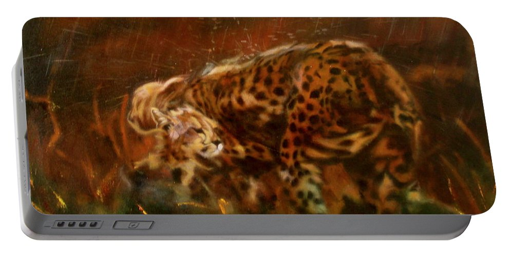 Rain;water;cats;africa;wildlife;animals;mother;shelter;brush;bush Portable Battery Charger featuring the painting Cheetah Family After The Rains by Sean Connolly