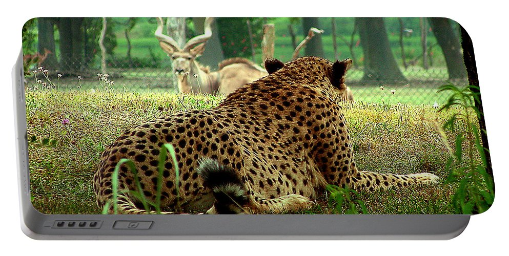 Cheetah Portable Battery Charger featuring the photograph Cheetah Lunch-87 by Gary Gingrich Galleries