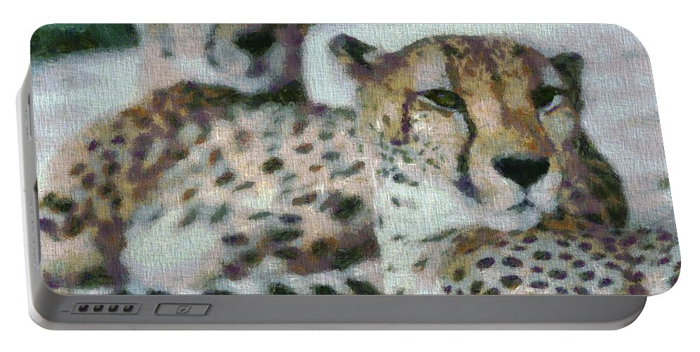 Cheetah Portrait Portable Battery Charger featuring the photograph Cheetah Portrait by Dan Sproul