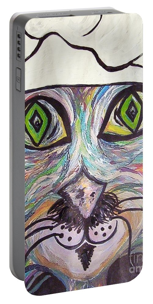 Professional Portable Battery Charger featuring the painting Chef Pierre ... A Cat With Good Taste by Eloise Schneider Mote