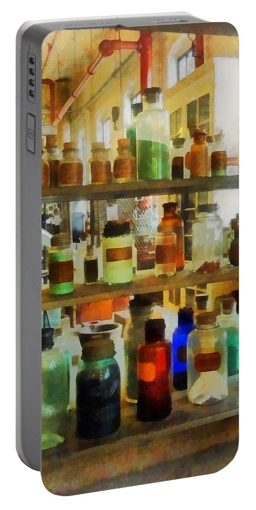 Science Portable Battery Charger featuring the photograph Chemistry - Bottles Of Chemicals Green And Brown by Susan Savad