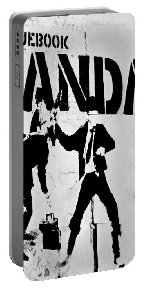 Banksy Portable Battery Charger featuring the photograph Chequebook Vandal by A Rey