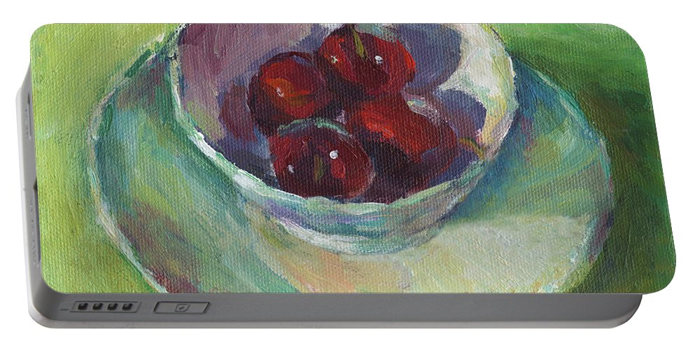 Cherries Portable Battery Charger featuring the painting Cherries In A Cup #2 by Svetlana Novikova