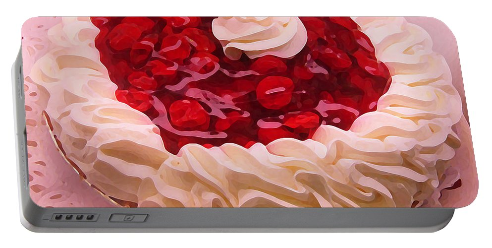 Still Life Portable Battery Charger featuring the painting Cherry Pie With Whip Cream by Amy Vangsgard