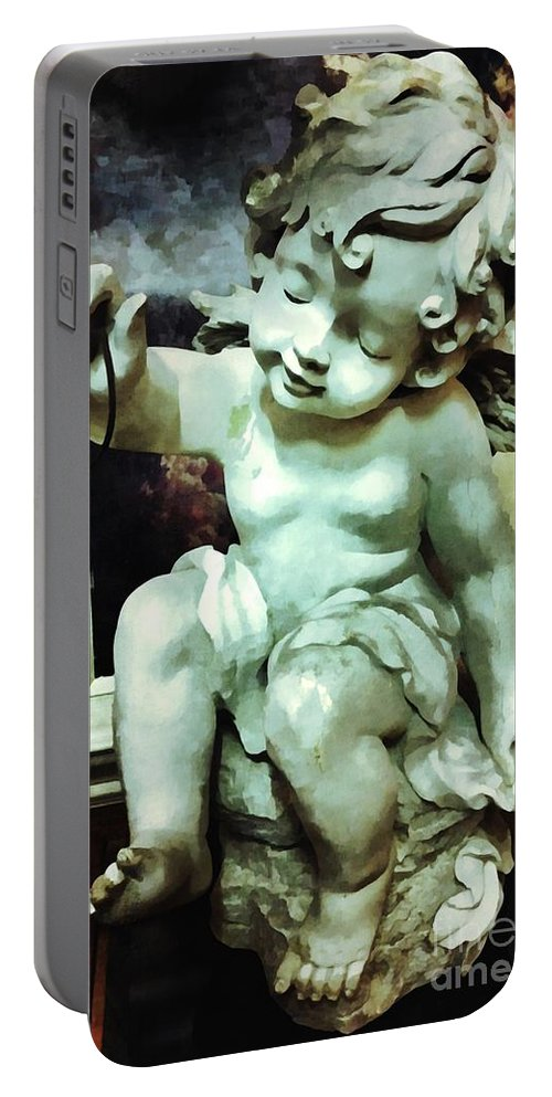 Cherub Portable Battery Charger featuring the photograph Cherub At Play by Saundra Myles