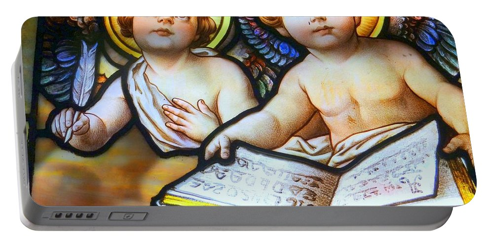 Stained Glass Portable Battery Charger featuring the photograph Cherubs by Ed Weidman