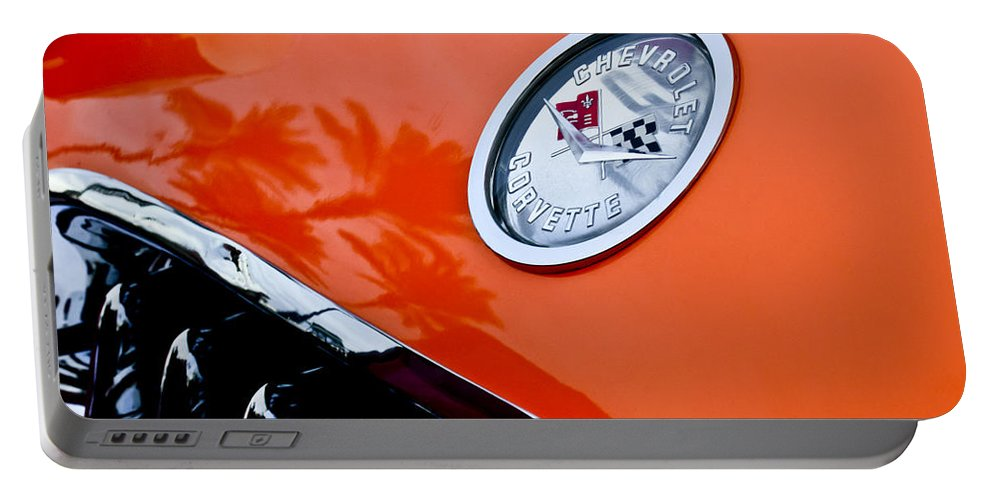 Chevrolet Corvette Portable Battery Charger featuring the photograph Chevrolet Corvette Hood Emblem by Jill Reger