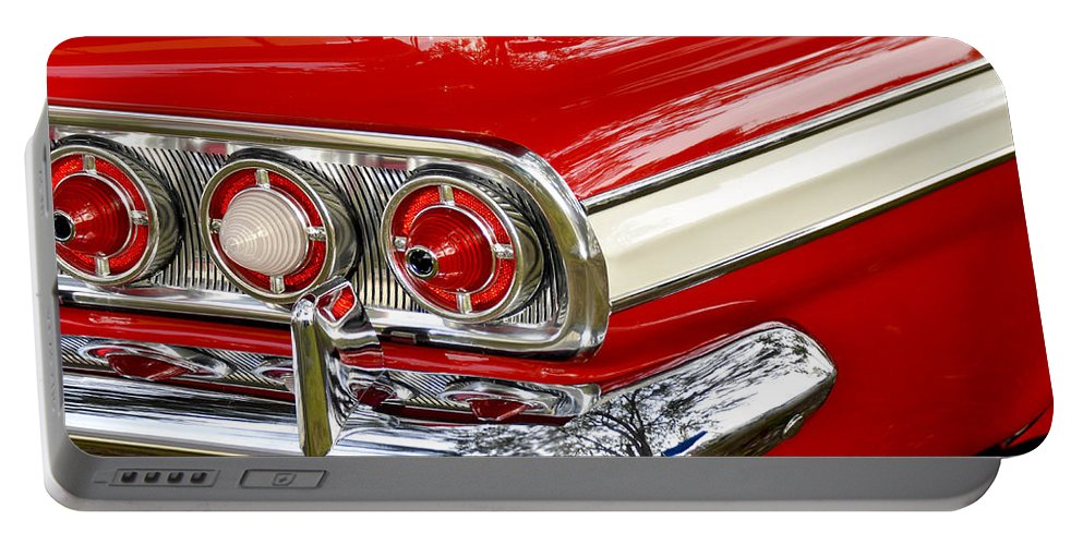 Automobile Portable Battery Charger featuring the photograph Chevrolet Impala Classic Rear View by Carolyn Marshall