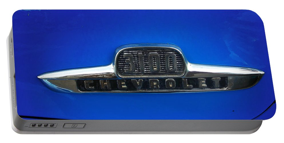 Chevy Portable Battery Charger featuring the photograph Chevy 3100 Emblem by Jennifer Lavigne