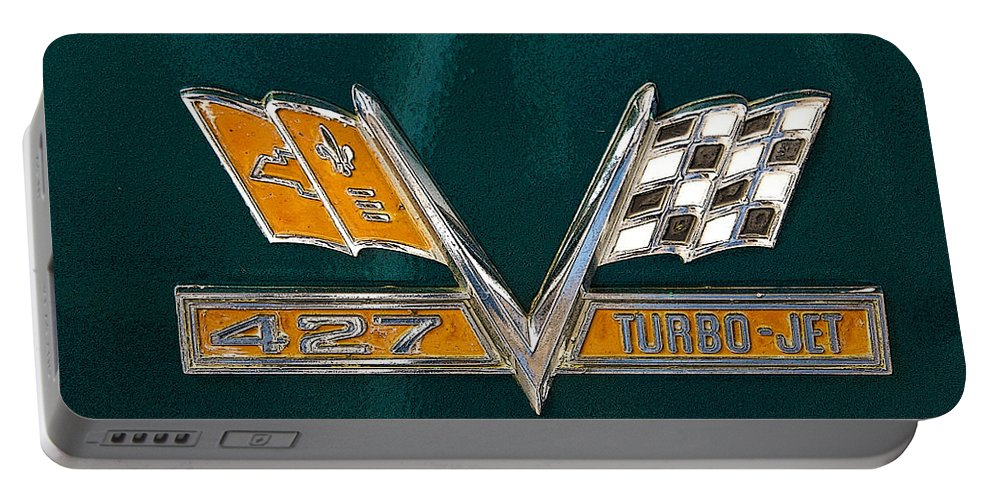 Emblem Portable Battery Charger featuring the photograph Chevy 427 Turbo Jet by Charles Beeler