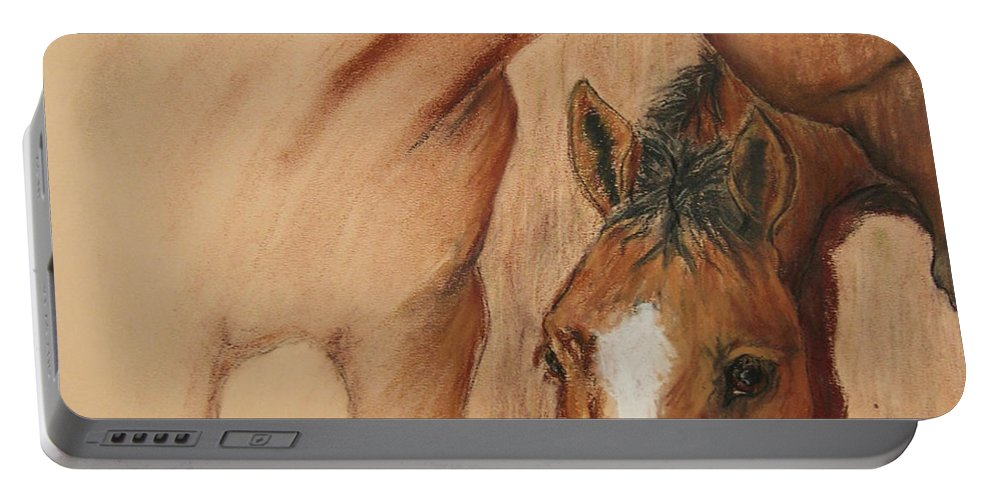 Pastel Portable Battery Charger featuring the drawing Cheyene Country by Cori Solomon