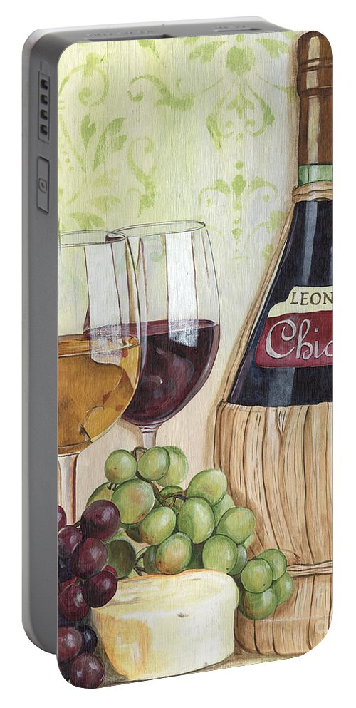 Wine Portable Battery Charger featuring the painting Chianti and Friends by Debbie DeWitt
