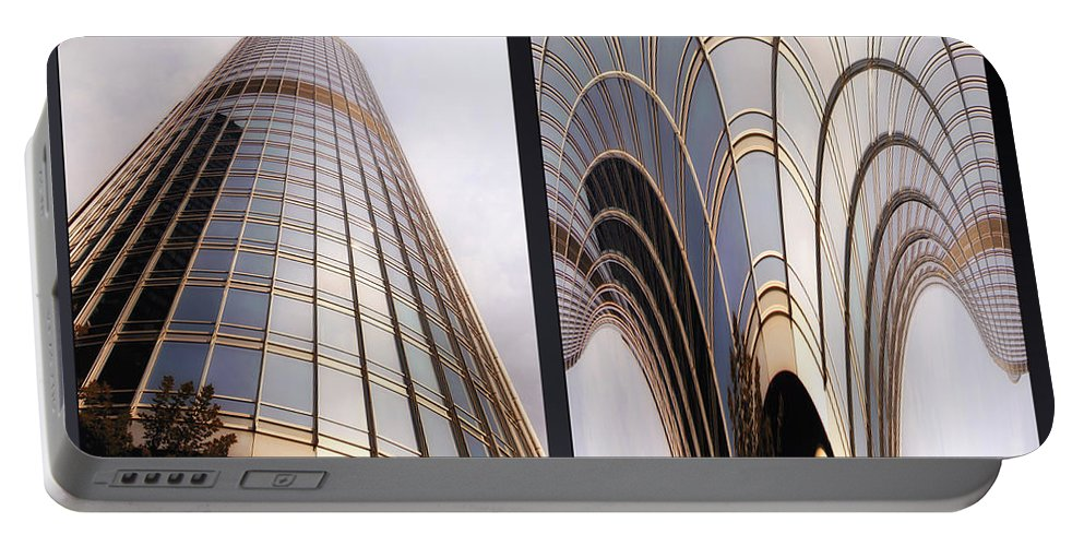 Chicago Portable Battery Charger featuring the photograph Chicago Abstract Before And After Sunrays On Trump Tower 2 Panel by Thomas Woolworth