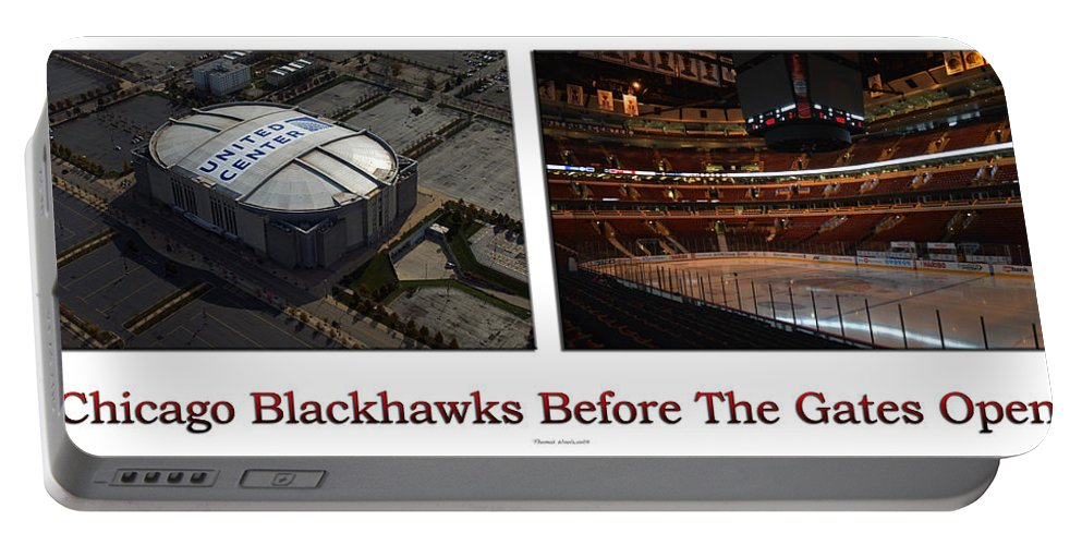 Chicago Blackhawks Portable Battery Charger featuring the photograph Chicago Blackhawks Before The Gates Open Interior 2 Panel White 01 by Thomas Woolworth