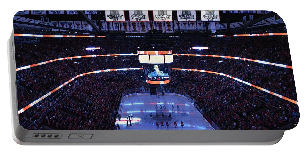 Chicago Blackhawks Portable Battery Charger featuring the photograph Chicago Blackhawks Please Stand Up by Thomas Woolworth