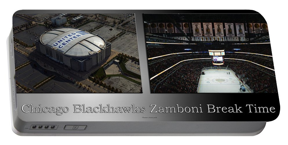 Chicago Blackhawks Portable Battery Charger featuring the photograph Chicago Blackhawks Zamboni Break Time 2 Panel Sb by Thomas Woolworth