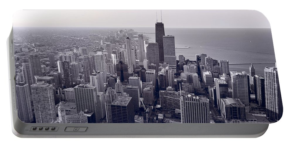 Aerial Portable Battery Charger featuring the photograph Chicago Bw by Steve Gadomski