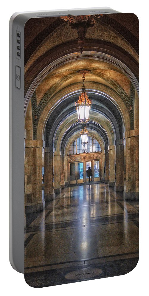 Chicago Portable Battery Charger featuring the photograph Chicago City Hall 1st Floor Hallway Area Hdr 01 by Thomas Woolworth