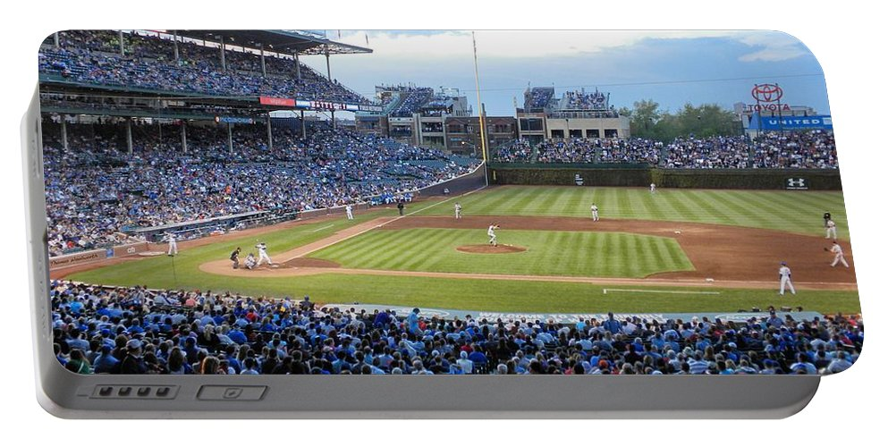 Chicago Cubs Portable Battery Charger featuring the photograph Chicago Cubs Up To Bat by Thomas Woolworth