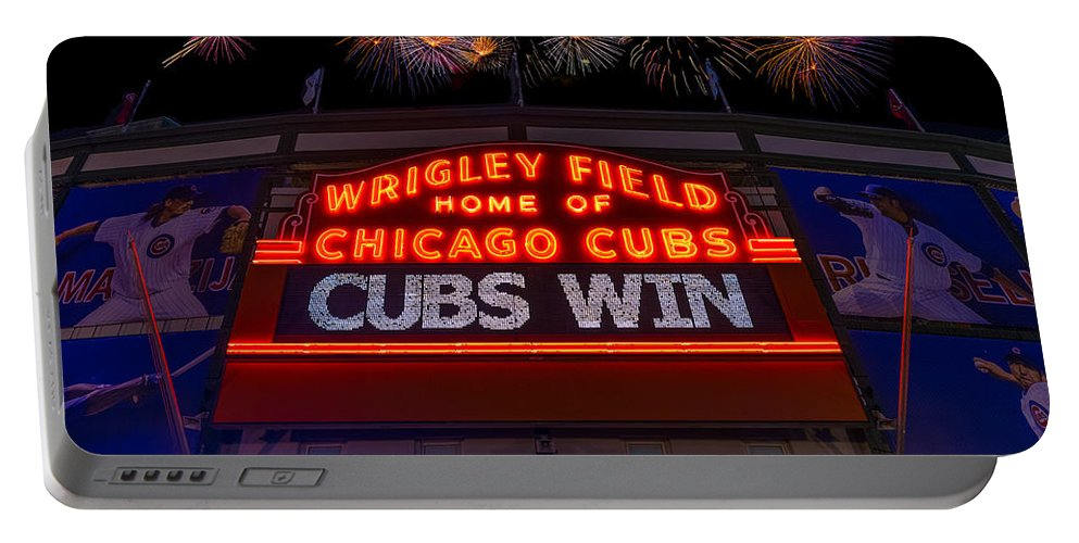 Chicago Portable Battery Charger featuring the photograph Chicago Cubs Win Fireworks Night by Steve Gadomski