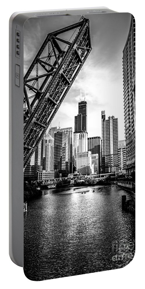 America Portable Battery Charger featuring the photograph Chicago Kinzie Street Bridge Black and White Picture by Paul Velgos