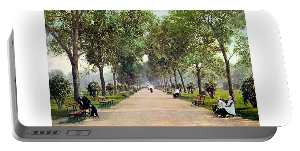 Detroit Portable Battery Charger featuring the digital art Chicago - Lincoln Park - 1910 by John Madison