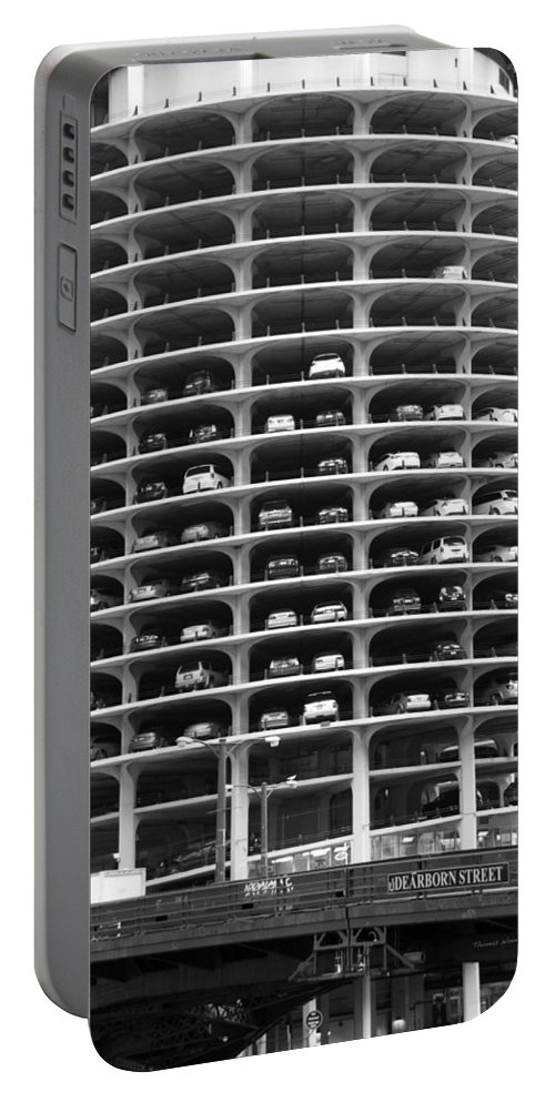 Marina City Portable Battery Charger featuring the photograph Chicago Marina City Parking Bw by Thomas Woolworth