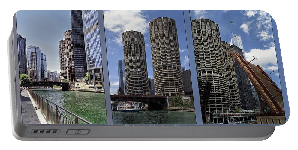 Chicago Portable Battery Charger featuring the photograph Chicago Marina City Triptych 3 Panel by Thomas Woolworth
