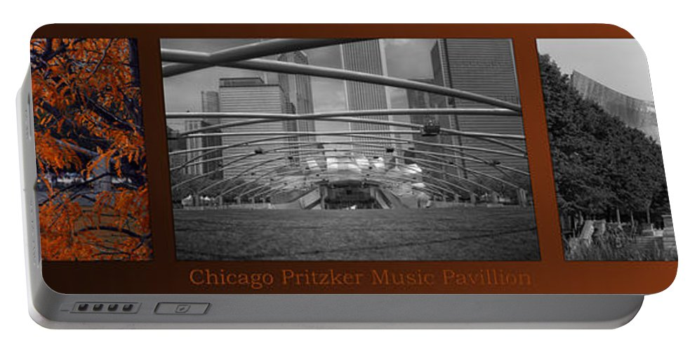 Chicago Portable Battery Charger featuring the photograph Chicago Pritzker Music Pavillion Sc Triptych 3 Panel by Thomas Woolworth