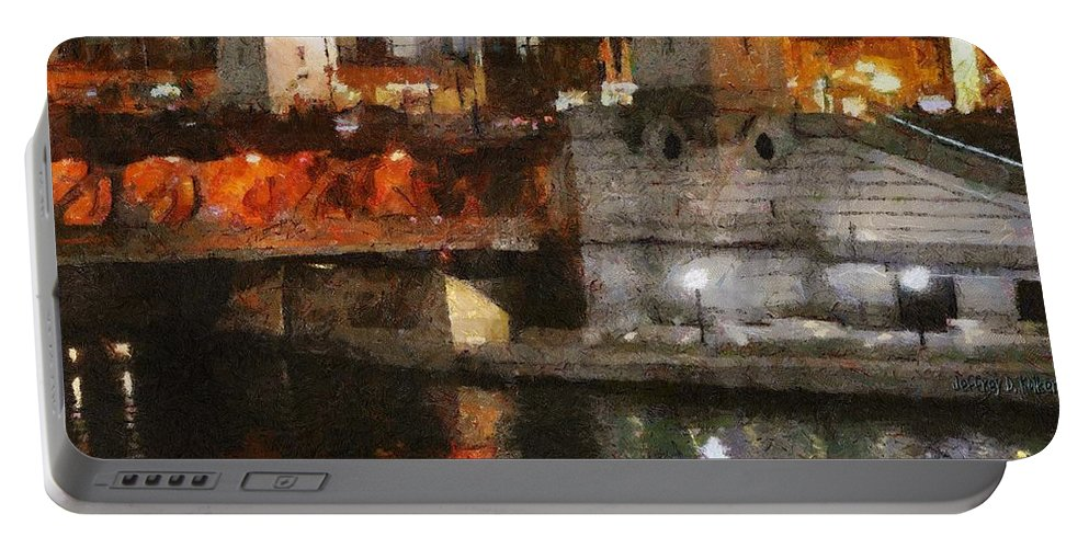 Bridge Portable Battery Charger featuring the painting Chicago River At Michigan Avenue by Jeffrey Kolker