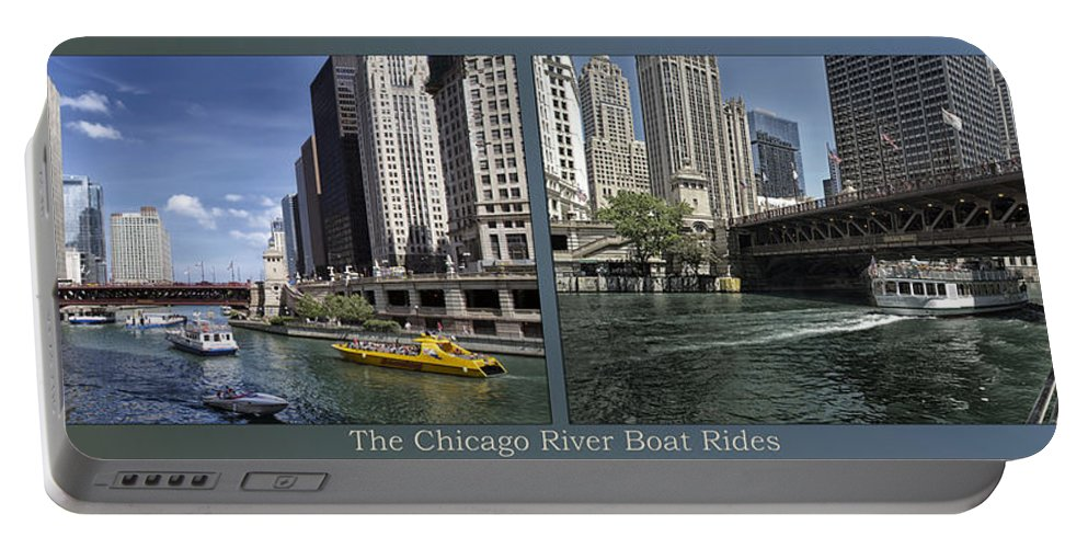 Riverwalk Portable Battery Charger featuring the photograph Chicago River Boat Rides 2 Panel by Thomas Woolworth