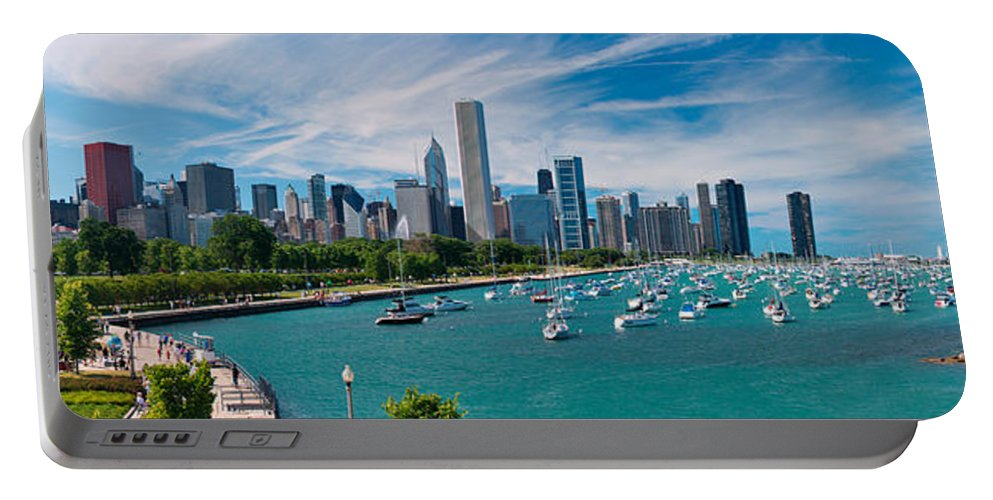 3scape Portable Battery Charger featuring the photograph Chicago Skyline Daytime Panoramic by Adam Romanowicz