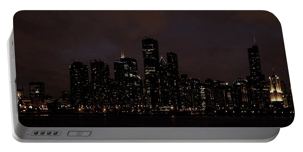 Chicago Portable Battery Charger featuring the photograph Chicago Skyline At Night by Ken Smith