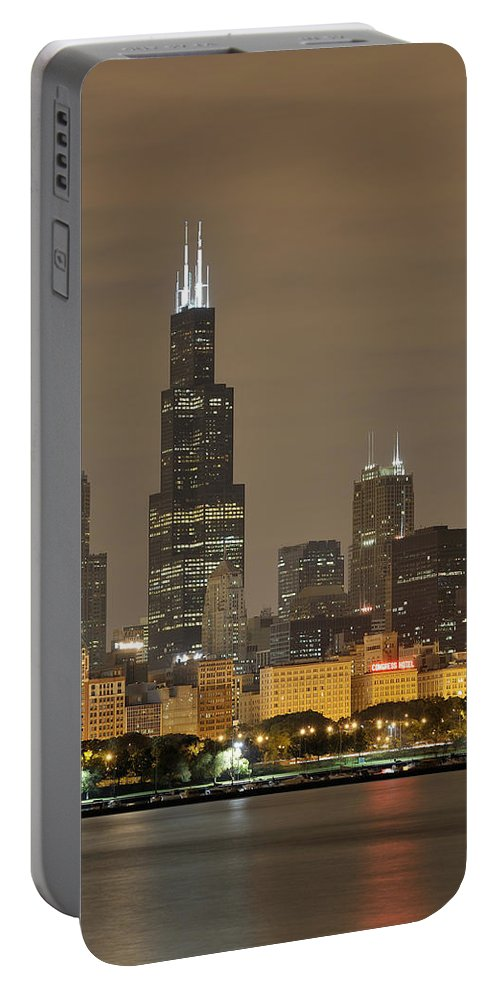 Chicago Skyline Portable Battery Charger featuring the photograph Chicago Skyline At Night by Sebastian Musial
