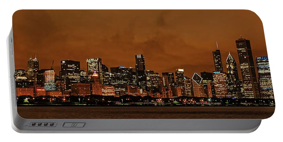 Chicago Skyline From Navy Pier Portable Battery Charger featuring the photograph Chicago Skyline Panorama At Dusk by Ken Smith