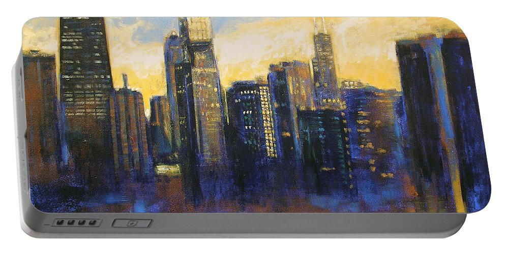 Chicago Skyline Portable Battery Charger featuring the painting Chicago Sunset Looking South by Joseph Catanzaro