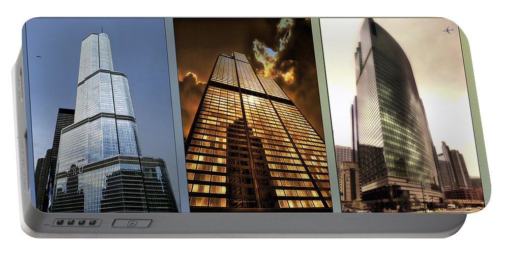 Chicago Portable Battery Charger featuring the photograph Chicago Tall Shoulders Trump Sears 333 W Wacker Triptych 3 Panel 01 by Thomas Woolworth