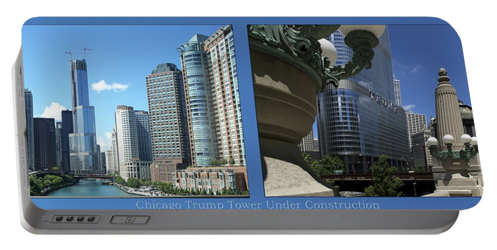 Chicago Portable Battery Charger featuring the photograph Chicago Trump Tower Under Const 2 Panel by Thomas Woolworth